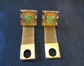 Cufflinks Vintage, Hawaiian Diamonds Green Lava Rock Mens Cuff Links Accessories, Hawaiite Olivine Pele's Fire