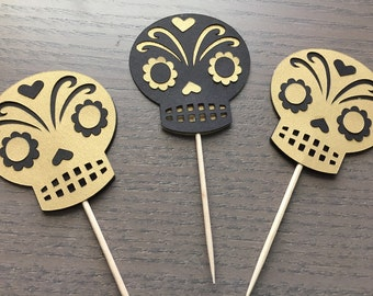 Day of the Dead cupcake and treat toppers Dia de los muertos party Sugar skull decorations