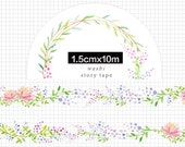1 Roll of Limited Edition Washi Tape: Elegant Daisy with Colorful Vine