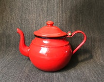 Red Enamelware Teapot - Due Leoni Westen Bassano - Almost Perfect Condition