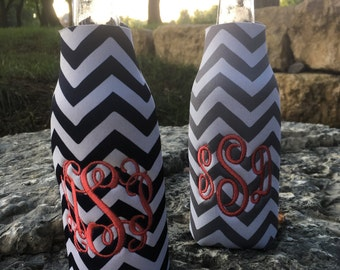 Monogrammed Custom Personalized Bottle Sleeves with Zipper