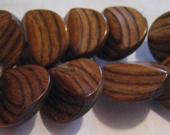 Lot of 10 Mid Century Wood Convex Buttons, Striking Wood Grain, Glossy - 3/4""