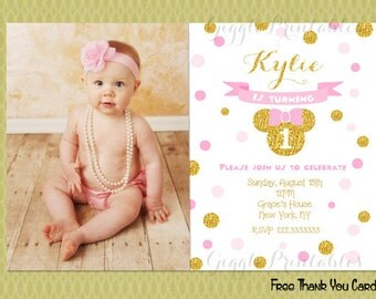 Pink and Gold Minnie Mouse Birthday invitations, Minnie Mouse Invitations, Gold and Pink Invitations, Baby Minnie Invitations