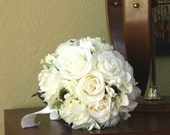 White Wedding Bouquet, Fabric Bridal Bouquet, Ivory Cream Flower Bouquet, White Flowers - READY to Ship