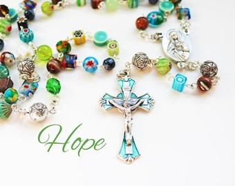 Contemporary Handmade Rosary--Repurposed--Hippie Style--Catholic--Prayer Beads--Inspirational--One of a Kind--Hope--Pray--Boho--Upcycled