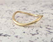 9ct Gold Wedding Ring - Rocking Wishbone - 1.5mm - Slim Wishbone Ring - 9ct Yellow Gold