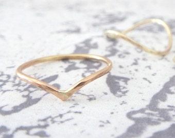 9ct Rose Gold Midi Ring - Holly Wishbone