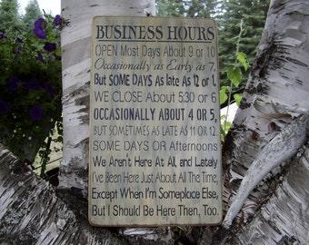 Wood Sign, Business Hours, Subway, Handmade, Word Art