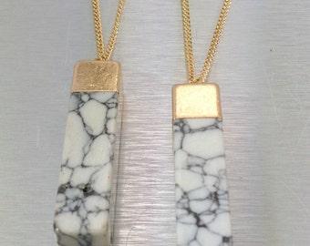 Howlite Necklace Gemstone Necklace White Marble Necklace White Stone Necklace Howlite Bar Necklace Boho Necklace Layered Necklace