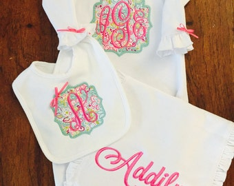 Baby Girls Take Home Outfit- knotted baby gowns- Layette Gown and Personalized Hat New Baby Girl Gift