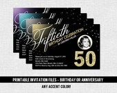 MILESTONE BIRTHDAY INVITATIONS Anniversary Any Accent Color with Photo (Printable Files) Glitter - Gold Silver 16th 20th 30th 40th 50th 60th
