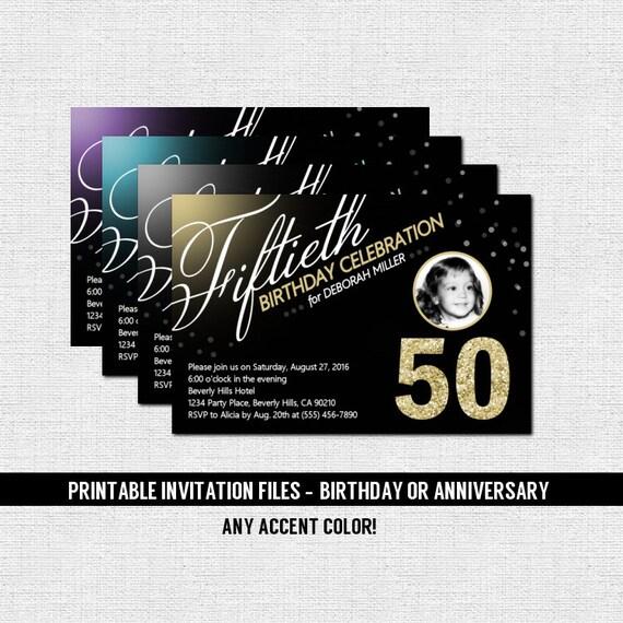 MILESTONE BIRTHDAY INVITATIONS Anniversary Any Accent Color