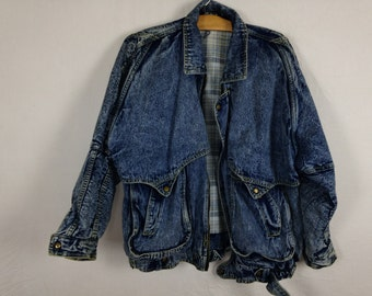 90s acid washed denim jacket size L