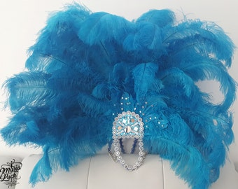 Blue Turquoise Brazilian samba ostrich feather headpiece by Maria Luck