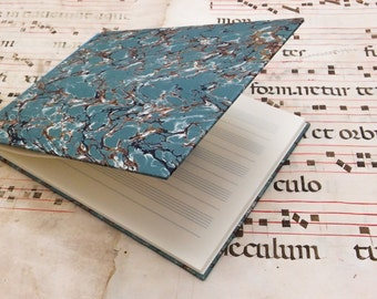 Musical Score book - blank pages - light blue marbled paper