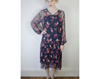 Vintage 1920s floral silk chiffon dress