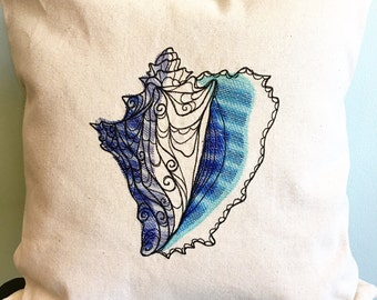 "Embroidered Seashell on Canvas Throw Pillow Cover for Your 18""x18"" Insert, Conch Shell, Nautical, Beach Decor"