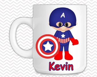 Captain America Kids Mug - Personalized Captain America Mug - Customized Mug - Melamine Cup - Personalized Kids cup
