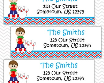 Bowling Boy - Personalized Address labels, Stickers