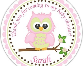 Owl Pink - Personalized Stickers, Party Favor Tags, Thank You Tags, Gift Tags, Address labels, Birthday, Baby Shower