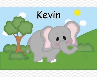 Elephant Placemat - Personalized Elephant Placemat for Kids - Elephant Double Sided Laminated Placemat for Kids