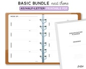 A5 BASIC PLANNER BUNDLE  - Printable Planner Inserts - Neat Theme - 23 sheets