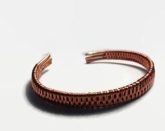Unisex Antiqued Copper Wire Wrapped Cuff Bracelet/ Wire Wrap Bracelet/ Mens Jewelry/ Unisex Jewelry/ Copper bracelet