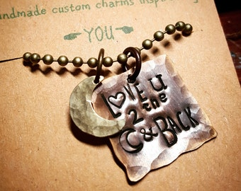Love you to the moon and back; quote jewelry; necklace