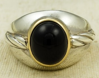 Contemporary 14K Yellow Gold & 925 Sterling Silver Men's Onyx Statement Ring Size 13.5  - 15.7 grams FREE SHIPPING!