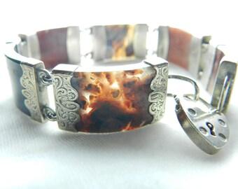 Scottish Agate Bracelet Sterling Silver 925 Agate Bracelet Victorian Agate Bracelet 1800s Agate Bracelet