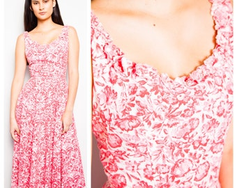 SALE was 185 now 150 beautiful VINTAGE 50s flower floral print crystal trim full skirt summer sun dress