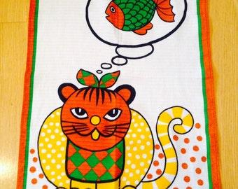 SALE! vintage cat and mouse tea towel