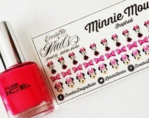 Minnie Mouse Nail Decals - Nail Art | Nail Wraps | Nail Decals | Nail Artist | Minnie Mouse Nail Art | Minnie Mouse Party | Party Favor
