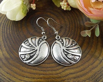 Ethnic Tribal Hmong Miao Silver Round Filigree Flower Drop Dangle Earrings