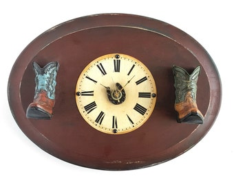 Cowboy Boots Clock on Rustic Distressed Wood, Western Home Decor, Home Organization