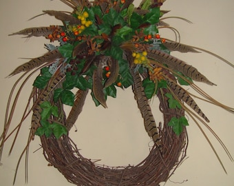 Pheasant feather wreath