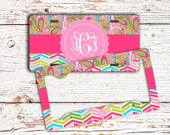 Chevron monogram license plate or frame preppy, Pink lime green blue, Girly car accessory Paisley, Front car tag or bike accessories (1666)