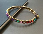 Colorful Stone  Brass Bead  Anklet