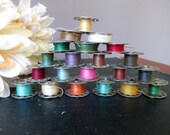 Vintage Lot of 22 Metal Sewing Machine Bobbins With Multicolor  Thread For Sewing or Crafts Mixed Media Steampunk Supply