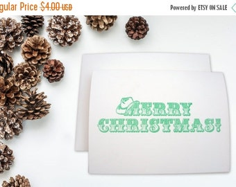 50% OFF Letterpress card Western Merry Christmas Cowboy Hat Christmas Cowboy Christmas Green