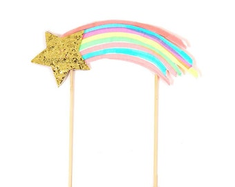Cake topper, Rainbow cake topper, Shooting star cake topper, gold star cake, rainbow party, gold glitter, cake supplies, girls birthday