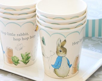 Peter Rabbit Party Cups, Peter rabbit birthday, Baby Shower Supplies, 1st party Decorations Garlands, Peter rabbit story theme party