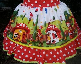 Gnome Pin up Apron /  Gnome half apron / Christmas Gnome Apron