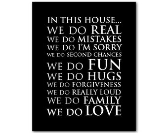 Modern Wall Art - Inspirational Wall Decor - In this house...we do love quote - Family wall art - Housewarming Gift - Family Room PRINT