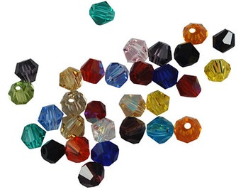 Bulk Beads 4mm Bicone Beads Assorted Colors Birthstone Beads Faceted Glass Beads 100 pieces Wholesale Beads