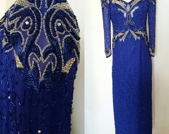 1980s Vintage Women's Silver & Blue Beaded Full Length Gala Gown Size 8