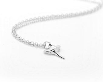 Teeny Tiny Sterling silver Shark Tooth Necklace