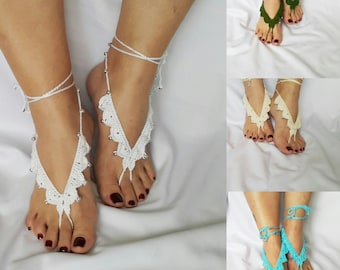 White Barefoot Sandals, Beach Pool,Nude shoes,Foot jewelry, Bridal Sandals, Destination Weddings, Beach Sandals, FlowerGirl
