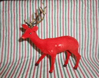 Vintage Red Flocked Deer
