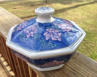 Vintage Octagon Asian Blue And White Vegetable/Rice Bowl With Large Pink Blossoms